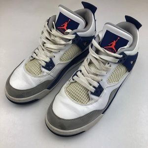 huge discount c179d efa78 Nike Air Jordan Retro 4 White Hyper Orange   Blue